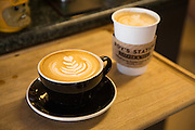 Lattes and various forms of coffee are top sellers at Roy's Station Coffee & Teas in Japantown of San Jose, California, on September 16, 2014. (Stan Olszewski/SOSKIphoto for Content Magazine)