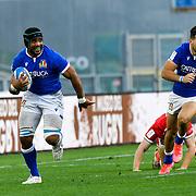 Roma 13/03/2021, Stadio Olimpico<br /> Guinness Six Nations 2021<br /> Italia vs Galles<br /> <br /> Maxime Mbanda' e Mattia Bellini