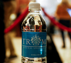 A Trump bottle of water in the lobby of the Trump Tower, while President elect Donald Trump is holding meetings on top floors of the Trump Tower, November 21, 2016, in New York, NY. (Aude Guerrucci / Pool)