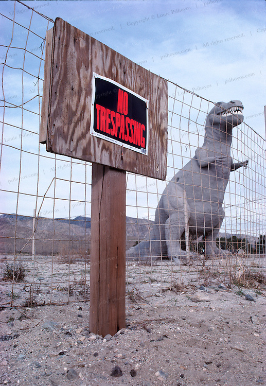 """The Cabazon monsters are a popular roadside attraction near Cabazon, California just west of Los Angeles, off Interstate 10.<br /> <br /> T. Rex, """"tyrant lizard king,"""" was one of the largest-ever meat eating land animals.  The bi-pedal giant grew to some 40 feet (12 meters) and weighed up to 7 US tons (6.5 metric tons) and small two-fingered hands that were actually surprisingly strong."""