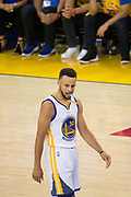 Golden State Warriors guard Stephen Curry (30) reacts to being fouled by the Cleveland Cavaliers during Game 5 of the NBA Finals at Oracle Arena in Oakland, Calif., on June 12, 2017. (Stan Olszewski/Special to S.F. Examiner)