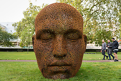 "© Licensed to London News Pictures. 01/10/2020. LONDON, UK. ""Meditation 1554"", 2019, by contemporary Korean artist Seo Young-Deok is displayed in Grosvenor Square as part of the inaugural Mayfair Sculpture Trail which will be on show to the public for the month of October.  The sculpture trail forms part of the seventh, annual edition of Mayfair Art Weekend which celebrates the rich cultural heritage of Mayfair as one of the most internationally known, thriving art hubs in the world with free exhibitions, tours, talks and site-specific installations available to the public.  Photo credit: Stephen Chung/LNP"