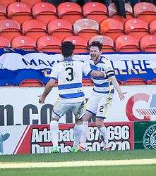 Morton's Lee Kilday (2) cele scoring their goal. half time : Dundee United 0 v 1 Morton, Scottish Championship game played 25/2/2017 at Tannadice Park.