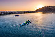 Competitive Outrigger Paddling in Dana Cove of Dana Point Harbor