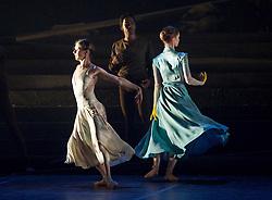 English National Ballet <br /> Triple Bill<br /> at Sadler's Wells, London, Great Britain <br /> rehearsal <br /> 7th September 2015 <br /> <br /> No Man's Land <br /> <br /> by Liam Scarlett <br /> <br /> Alina Cojocaru <br /> <br /> on left <br /> <br /> Photograph by Elliott Franks <br /> Image licensed to Elliott Franks Photography Services
