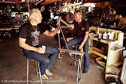 Arlen Ness with his frame maker Jim Davis in Jim's shop, Brentwood, CA. ©Michael Lichter 1987
