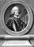 Bernard Forest Belidor (1693-c1761) French military and civil engineer. Portrait engraving frontispiece from his 'Architecture Hydraulique', Paris, 1737
