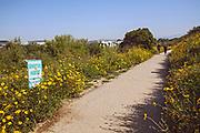 Sensitive Habitat sign in Ballona Wetlands, Playa Vista, Los Angeles, California, USA