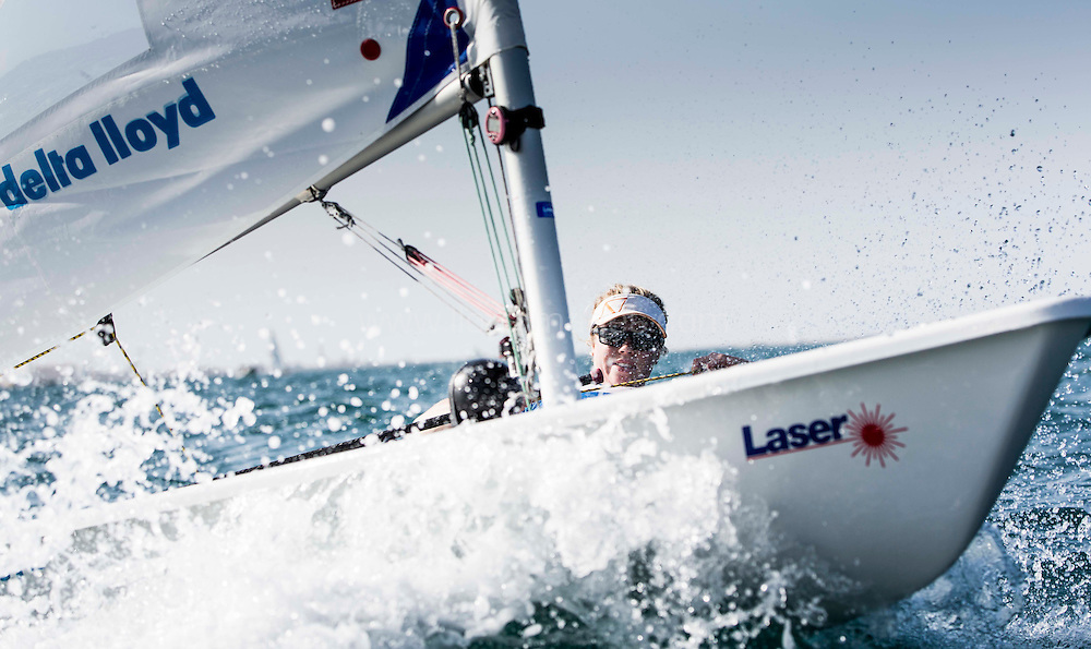 Image licensed to Lloyd Images <br /> The 2015 Laser Women's Radial World Championships. Mussanah. Oman. 18-26 November. Pre racing practice day -  Maxime Jonker (NED)
