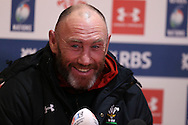 Wales assistant coach Robin McBryde speaks to the media after the Wales Rugby captains run, ahead of tomorrows RBS Six nations match against England. Principality Stadium, Cardiff, South Wales on Friday 10th Feb 2017.   pic by  Andrew Orchard, Andrew Orchard sports photography.