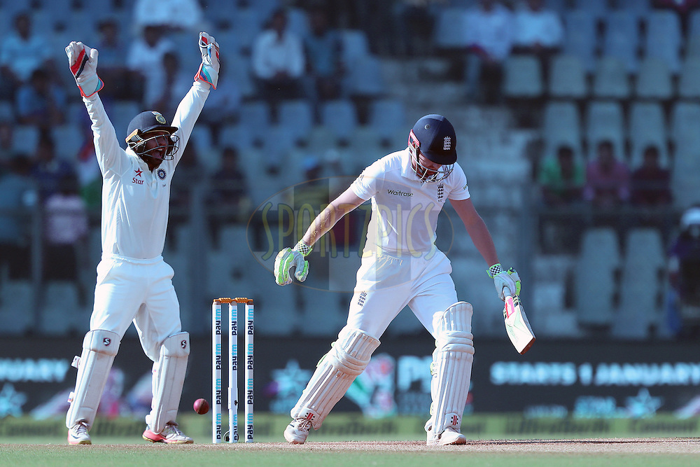 Parthiv Patel of India appeals for the wicket of Jonny Bairstow of England during day 5 of the fourth test match between India and England held at the Wankhede Stadium, Mumbai on the 12th December 2016.<br /> <br /> Photo by: Ron Gaunt/ BCCI/ SPORTZPICS