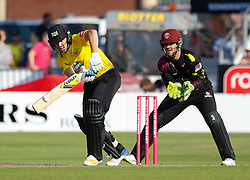 Gloucestershire's Ryan Higgins<br /> <br /> Photographer Simon King/Replay Images<br /> <br /> Vitality Blast T20 - Round 1 - Somerset v Gloucestershire - Friday 6th July 2018 - Cooper Associates County Ground - Taunton<br /> <br /> World Copyright © Replay Images . All rights reserved. info@replayimages.co.uk - http://replayimages.co.uk