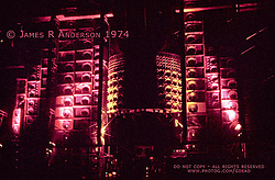 An older scan of The Wall of Sound PA System between Sets. I'll leave this image here. Locate in this gallery a high resolution up-to-date image file. The Grateful Dead perform live at the Springfield Civic Center on 30 June 1974. Set break lighting by Candace Brightman.