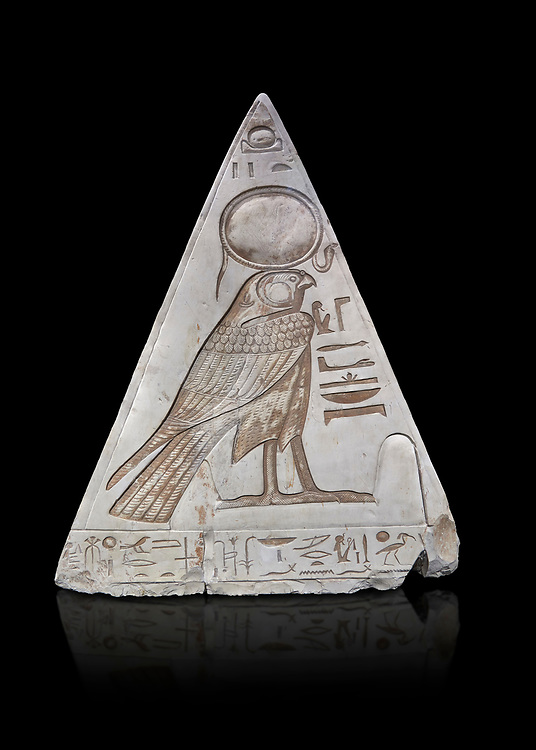 """South face of Ancient Egyptian Pyramidion of Ramose with depictionof Horus, Limestone, New Kingdom, 19th Dtnasty (1292-1190 BC), Dier el-Medina. Egyptian Museum, Turin. Old Fund cat 1603. black background.<br /> <br /> <br /> The South face of the Ramose Pyramidion shows Horus standing in a dipole magnetic field supporting the strong coronal electric field of the Sun. The hieroglyphs read:<br />  """"The Stellar dipole magnetic field is supported by many negative charges or electrons.""""<br /> The limestone Pyramidion of Ramose, from the top of the tomb of the 'Necropolis Scribe'. Scenes on all four sides depict the worship of the sun. .<br /> <br /> If you prefer to buy from our ALAMY PHOTO LIBRARY  Collection visit : https://www.alamy.com/portfolio/paul-williams-funkystock/ancient-egyptian-art-artefacts.html  . Type -   Turin   - into the LOWER SEARCH WITHIN GALLERY box. Refine search by adding background colour, subject etc<br /> <br /> Visit our ANCIENT WORLD PHOTO COLLECTIONS for more photos to download or buy as wall art prints https://funkystock.photoshelter.com/gallery-collection/Ancient-World-Art-Antiquities-Historic-Sites-Pictures-Images-of/C00006u26yqSkDOM"""