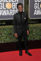 Caleb McLaughlin at the 75th Golden Globe Awards held at the Beverly Hilton in Beverly Hills, CA on January 7, 2018.<br /><br />(Photo by Sthanlee Mirador)