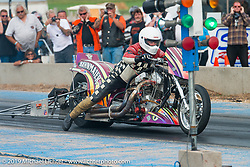 Mike Bahnmaier off the line at the Sturgis Dragway race finals on Wednesday during the annual Black Hills Motorcycle Rally. Sturgis, SD, USA. August 6, 2014.  Photography ©2014 Michael Lichter.