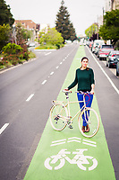 Cynthia Armour at the 40th Street bike lane in Oakland.