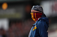 A member of the Bradford City team watches on from the stand<br /> <br /> Photographer Alex Dodd/CameraSport<br /> <br /> The EFL Sky Bet League Two - Bradford City v Bolton Wanderers - Saturday 6th March 2021 - Valley Parade - Bradford<br /> <br /> World Copyright © 2021 CameraSport. All rights reserved. 43 Linden Ave. Countesthorpe. Leicester. England. LE8 5PG - Tel: +44 (0) 116 277 4147 - admin@camerasport.com - www.camerasport.com