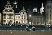 Belgie, Gent, 8-9-2016Stadsgezicht op de Graslei, uitgaansgebied in het centrum van de stad wat autovrij is gemaakt.Foto: Flip Franssen