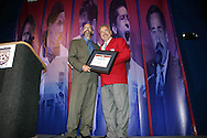 Hank Steinbrecher (r) is presented with his induction plaque by Hall of Fame president Will Lunn (l) on Monday, August 29, 2005, during the 2005 National Soccer Hall of Fame Induction Ceremony in Oneonta, New York.