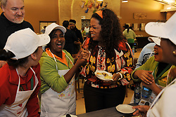 5186<br /> 09.6.17<br /> Oprah Winfrey is given a sample of the results of the cooking class, held during Oprah Winfrey Leadership Academy for Girls' Arts Workshop week, during which the students were given a taste of a variety of disciplines in the arts. The school in Henley-On-Klip, has about 300 pupils from disadvantaged backgrounds, all of whom have shown academic promise.<br /> Picture: Cara Viereckl