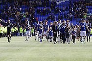 Everton players and family thank the Goodison crowd at the end of the match. Barclays Premier League match, Everton v Norwich City at Goodison Park in Liverpool on Sunday 15th May 2016.<br /> pic by Chris Stading, Andrew Orchard sports photography.