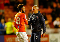 Football - 2021 / 2022 EFL Carabao Cup - Round One: Blackpool vs. Middlesbrough<br /> <br /> Blackpool manager Neil Critchley celebrates with Grant Ward  at the final whistle after his team ran out 3-0 winners, at Bloomfield Road.<br /> <br /> COLORSPORT/ALAN MARTIN