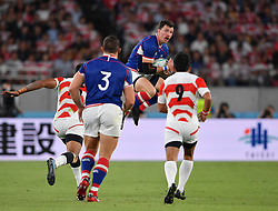 Russia's Vasily Artemyev (centre) claims a high ball during the Pool A match between Japan and Russia at the Tokyo Stadium, Tokyo, Japan. Picture date: Friday September 20, 2019. See PA story RUGBYU Japan. Photo credit should read: Ashley Western/PA Wire. RESTRICTIONS: Editorial use only. Strictly no commercial use or association. Still image use only. Use implies acceptance of RWC 2019 T&Cs (in particular Section 5 of RWC 2019 T&Cs) at: https://bit.ly/2knOId6