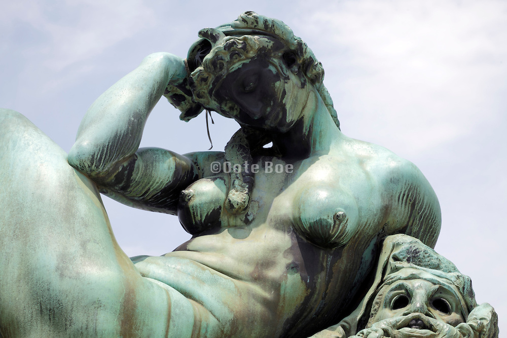 outdoor reproduction statue Tomb of Giuliano De' Medici, detail of Night Florence Italy