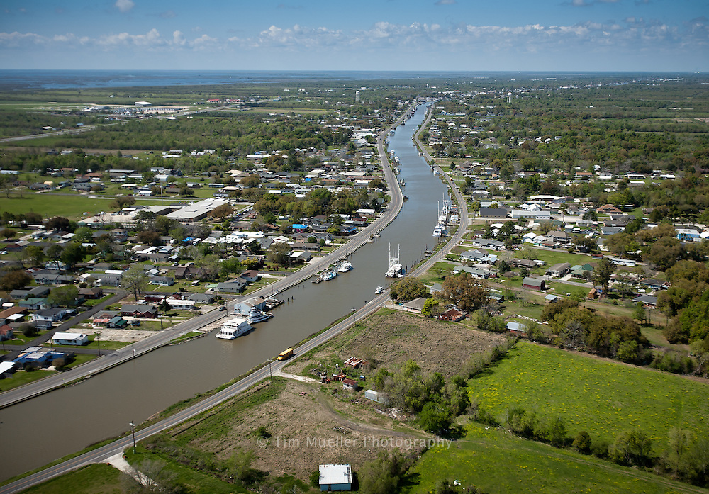 Aerial of Galliano in Lafourche Parish and the marshlands of South Louisiana.