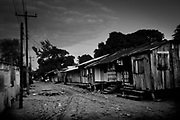 Downtown Kawkira early morning. All house are built in wood and on stillts due to flooding in the wet seasond.