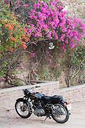 Motorbike parked in Jodhpur, Rajasthan, India