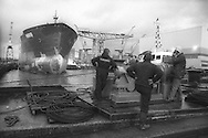 Ship launch at Kvaerner shipbuilding yard, on the River Clyde, Glasgow, Scotland, December 1992.