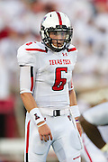 DALLAS, TX - AUGUST 30: Baker Mayfield #6 of the Texas Tech Red Raiders calls a play at the line of scrimmage against the SMU Mustangs on August 30, 2013 at Gerald J. Ford Stadium in Dallas, Texas.  (Photo by Cooper Neill/Getty Images) *** Local Caption *** Baker Mayfield