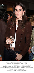 LADY LAURA CATHCART at a party in London on 10th June 2003.PKH 158