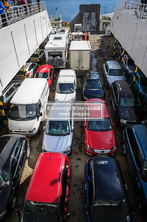 Vehicles aboard the car ferry mv Pentalina during a crossing from Scotland to the Orkney Islands.<br /> <br /> (c) Andrew Wilson   Edinburgh Elite media