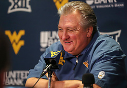 Jan 19, 2019; Morgantown, WV, USA; West Virginia Mountaineers head coach Bob Huggins talks to the media after the game at WVU Coliseum. Mandatory Credit: Ben Queen-USA TODAY Sports