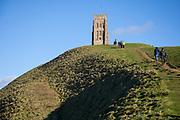 Glastonbury Tor and town Glastonbury Tor, Somerset.