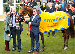 Owner Michael O'Leary (second left) celebrates with horse Balko Des Flos after winning the Ryanair Steeple Chase during St Patrick's Thursday of the 2018 Cheltenham Festival at Cheltenham Racecourse.
