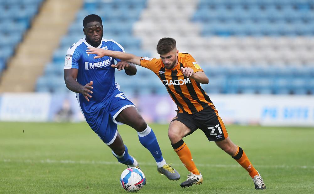 Hull City's Brandon Fleming and Gillingham's John Akinde<br /> <br /> Photographer Rob Newell/CameraSport<br /> <br /> The EFL Sky Bet League One - Gillingham v Hull City - Saturday September 12th 2020 - Priestfield Stadium - Gillingham<br /> <br /> World Copyright © 2020 CameraSport. All rights reserved. 43 Linden Ave. Countesthorpe. Leicester. England. LE8 5PG - Tel: +44 (0) 116 277 4147 - admin@camerasport.com - www.camerasport.com