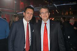 Left to right, Francesco Balli - Regional Manager - Ferrari North Europe and Nicola Boari - Head of Product Marketing - Ferrari SpA at the UK launch of the Ferrari California T held at Somerset House, the Strand, London on 24th April 2014.