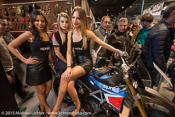 The Aprilia Motorcycles booth during EICMA, the largest international motorcycle exhibition in the world. Milan, Italy. November 20, 2015.  Photography ©2015 Michael Lichter.