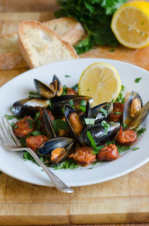 Mussels and chorizo in white wine sauce