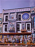 Northcentral Pennsylvania, downtown murals on historic buildings illustrate town history, Williamsport, PA