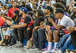 July 6, 2018 - Oakland, CA, U.S. - OAKLAND, CA - JULY 06: Ice Cube, BIG3 League Co-Founder and rapper/actor enjoying the show by Dope ERA before game 3 in week three of the BIG3 3-on-3 basketball league on Friday, July 6, 2018 at the Oracle Arena in Oakland, CA(Photo by Douglas Stringer/Icon Sportswire) (Credit Image: © Douglas Stringer/Icon SMI via ZUMA Press)