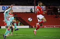 Football - 2020 / 2021 Sky Bet Championship - Play-offs - Semi-final 1st Leg - Barnsley vs Swansea City - Oakwell<br /> <br /> Carlton Morris of Barnsley flicks the ball and hits the bar with his shot at goal