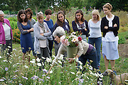 """Rachel running a Sunday morning flower arranging course at 'Green and Gorgeous'. Showing how to cut flowers<br /><br />Rachel is the owner of """"Green and Gorgeous"""" Flower Farm in Oxfordshire. She is well known for the flower arranging courses she offers. Her flower farm also caters for events, weddings and private picking<br /><br />British local flowers, grown nearby, count for around 10% of the UK market, traveling less than a tenth of their foreign counterparts which are often flown in from abroad. Nearly 90% of the flowers sold in the UK are actually imported, and many travel over 3000 miles. Local flower farms help biodiversity, providing food and habitat to a huge variety of wildlife, insects including butterflies, bugs, and bees. Often local flower farmers prefer to grow organic rather than using pesticides. British flowers bloom all the year around, even in the depths of winter, and there are local flower farms throughout the country.<br /><br />Many people like the idea of the just picked from the garden look, and come to flower farms throughout Britain to pick their own for weddings, parties and garden fetes. Others come for the joy of a day out in the countryside with their family. Often a bride and her family will come to pick the flowers for her own wedding, some even plant the seeds earlier in the year."""