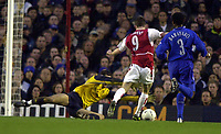 Photo. Richard Lane. <br />Arsenal v Chelsea. FA Cup Fifth Round. 08/03/2003<br />Francis Jeffers is brought down by Carlo Cudicini.
