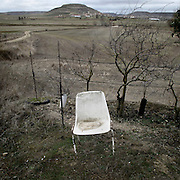 Abandoned chair near Castrojeriz, Burgos province . Spain . The WAY OF SAINT JAMES or CAMINO DE SANTIAGO following the French Route, between Saint Jean Pied de Port and Santiago de Compostela in Galicia, SPAIN. Tradition says that the body and head of St. James, after his execution circa. 44 AD, was taken by boat from Jerusalem to Santiago de Compostela. The Cathedral built to keep the remains has long been regarded as important as Rome and Jerusalem in terms of Christian religious significance, a site worthy to be a pilgrimage destination for over a thousand years. In addition to people undertaking a religious pilgrimage, there are many travellers and hikers who nowadays walk the route for non-religious reasons: travel, sport, or simply the challenge of weeks of walking in a foreign land. In Spain there are many different paths to reach Santiago. The three main ones are the French, the Silver and the Coastal or Northern Way. The pilgrimage was named one of UNESCO's World Heritage Sites in 1993. When there is a Holy Compostellan Year (whenever July 25 falls on a Sunday; the next will be 2010) the Galician government's Xacobeo tourism campaign is unleashed once more. Last Compostellan year was 2004 and the number of pilgrims increased to almost 200.000 people.