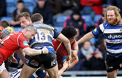 London Welsh's Opeti Fonua scores a try - Photo mandatory by-line: Robbie Stephenson/JMP - Mobile: 07966 386802 - 29/03/2015 - SPORT - Rugby - Oxford - Kassam Stadium - London Welsh v Bath Rugby - Aviva Premiership